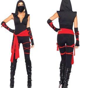 SEXY 5PC BLACK & RED NINJA HALLOWEEN COSTUME *NWT*